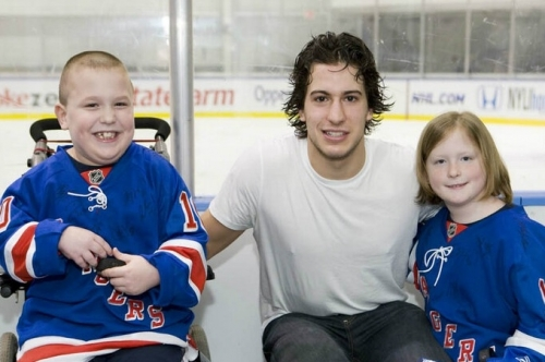 Liam with his favorite player Michael Del Zotto